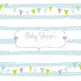 Baby shower card for boy, blue pastel tones, geometrical ornament with frame for your text Royalty Free Stock Photos