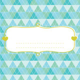 Baby shower card for boy, blue pastel tones, geometrical ornament with frame for your text Stock Photography