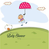Baby shower card with a boy who lands on a meadow Stock Photo