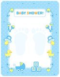 Baby shower card for boys. Baby shower card for boy stock illustration