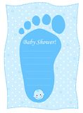 Baby shower card for boys. Baby shower invitation card for boy. baby feet shaped invitation card royalty free illustration