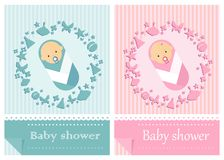Baby shower card boys and girls Stock Images