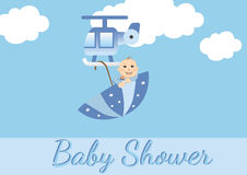 Baby shower card for boys Royalty Free Stock Photos