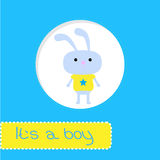 Baby shower card with bunny. Its a boy Royalty Free Stock Images