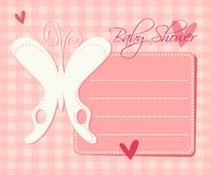 Baby shower. Card with butterfly and hearts Royalty Free Stock Images
