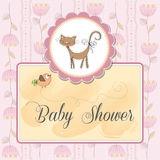 Baby shower card with cat Stock Photography