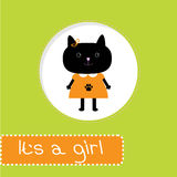 Baby shower card with cat. Its a girl Stock Images