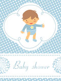 Baby shower card with cute baby boy Royalty Free Stock Photo