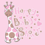 Baby shower card with cute baby giraffe on pink background. Suitable for baby shower greeting card, postcard, and invitation card Stock Image