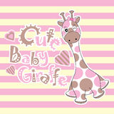 Baby shower card with cute baby giraffe on stripes background Stock Photography