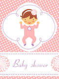 Baby shower card with cute baby girl. An elegant baby shower card with cute baby girl Royalty Free Stock Images