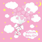Baby shower card with cute baby rabbit fly with love balloons, vector cartoon, suitable for baby shower invitation and postcard Royalty Free Stock Photos
