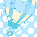Baby shower card with cute blue hot air balloon on polka dot background vector cartoon for postcard and greeting card Stock Photos