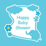 Baby shower card with cute elephant and flower frame Royalty Free Stock Photo
