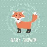 Baby shower card with a cute fox Stock Images