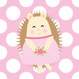 Baby shower card with cute hedgehog brings flowers on polka dot background Stock Images