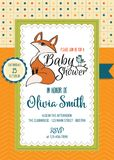 Baby shower card with cute little fox Stock Photography