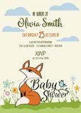 Baby shower card with cute little fox Stock Image