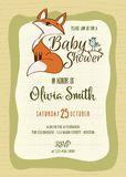 Baby shower card with cute little fox Stock Photo