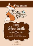Baby shower card with cute little fox Stock Photos