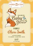 Baby shower card with cute little fox Stock Images