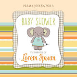 Baby shower card with cute little mouse Stock Image