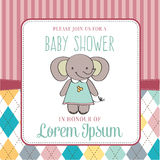 Baby shower card with cute little mouse Stock Images