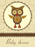 Baby shower card with cute owl Stock Photography