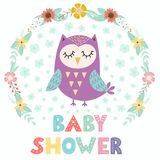 Baby shower card with a cute owl Royalty Free Stock Photos