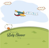 Baby shower card with cute plane Stock Photo