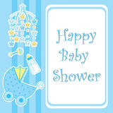 Baby shower card with cute star toy, milk bottle and baby cart Royalty Free Stock Image