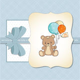 Baby shower card with cute teddy bear Stock Photo