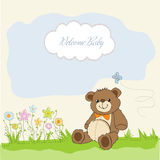 Baby shower card with cute teddy bear Royalty Free Stock Image