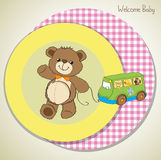 Baby shower card with cute teddy bear Royalty Free Stock Photos