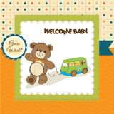 Baby shower card with cute teddy bear Stock Image