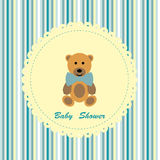 Baby shower card with cute teddy bear Royalty Free Stock Photo