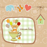 Baby shower card with cute teddy bear Royalty Free Stock Images