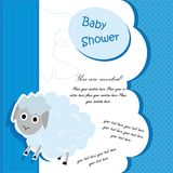 Baby shower card design with lamb. Baby shower card design for boy in blue, vector EPS 8 vector illustration