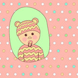 Baby Shower Card Design. Little Cute Girl in Beatiful Suit Royalty Free Stock Photo