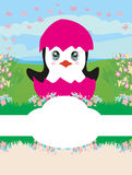 Baby shower card design with penguin. Vector Illustration Royalty Free Stock Photos