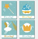 Baby shower card design template. It`s a boy cards with gold glittering elements cupcakes, magic wand, fairy, crown Stock Photos