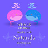Baby shower card design with whale Royalty Free Stock Images