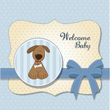 Baby shower card with dog. Baby boy shower card with dog Royalty Free Stock Photos