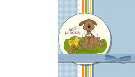 Baby shower card with dog and duck Royalty Free Stock Images