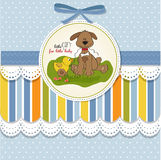 Baby shower card with dog and duck. Toy Stock Photos