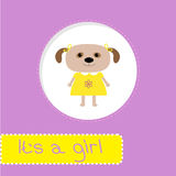 Baby shower card with dog. Its a girl Stock Images