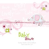 Baby shower card with elephant Stock Photography