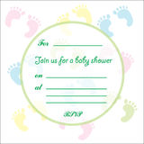 Baby Shower card feet design Stock Photo