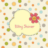 Baby shower card with flower Royalty Free Stock Images