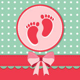 Baby shower card. With footstep stock illustration